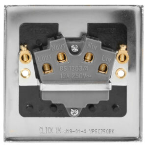 Click Deco Satin Chrome Fused Spur 13A Unswitched VPSC750BK