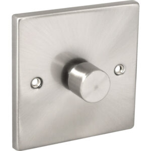 Click Deco Satin Chrome LED Dimmer Switch 1 Gang 2 Way VPSC140